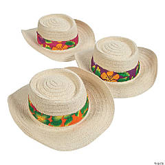 Beach Hats with Hibiscus Print Band
