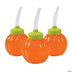 Lil' Pumpkin Cups with Lids & Straws