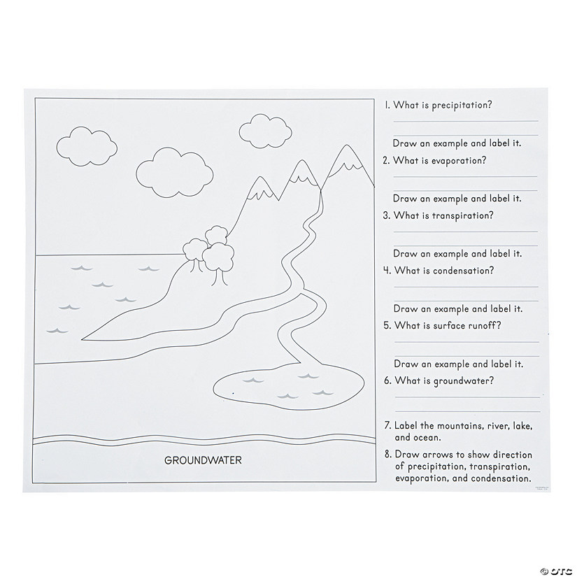 Color your own all about the water cycle posters ccuart Choice Image