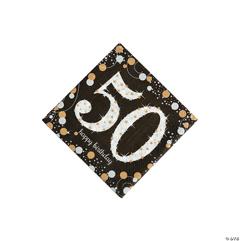 Sparkling Celebration 50th Birthday Beverage Napkins