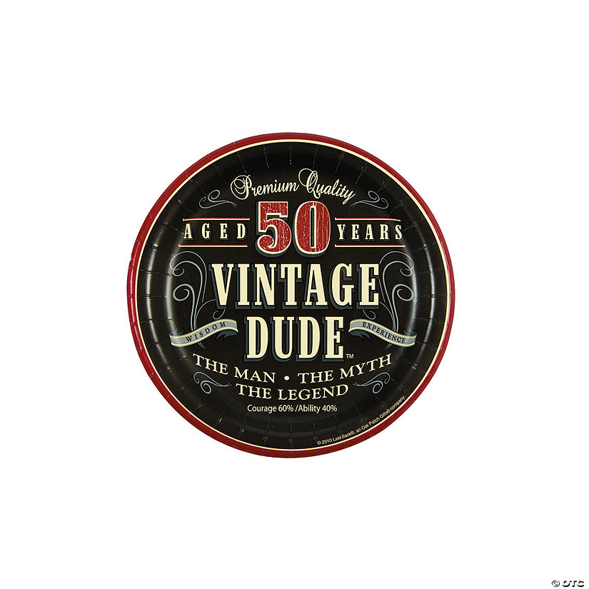 50th Birthday Vintage Dude Paper Dessert Plates