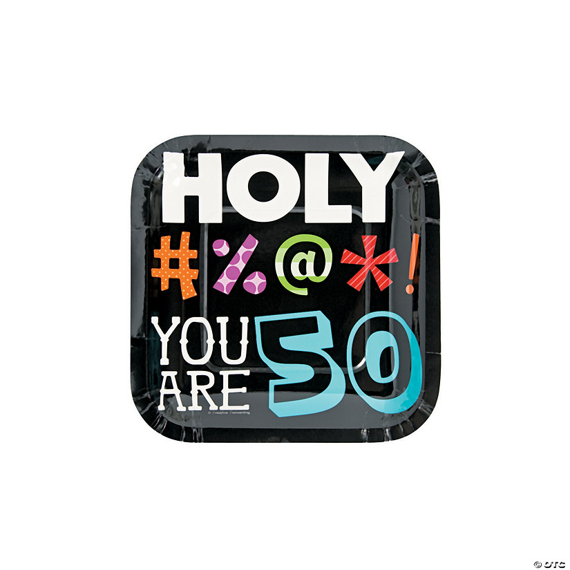 Holy Bleep 50th Birthday Paper Dessert Plates