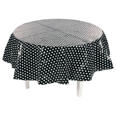 quickview image of black polka dot round plastic tablecloth with sku13774231