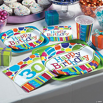 Bright bold 30th birthday party supplies for 30th birthday party decoration packs