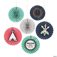 Tribal Baby Shower Tissue Paper Hanging Fans