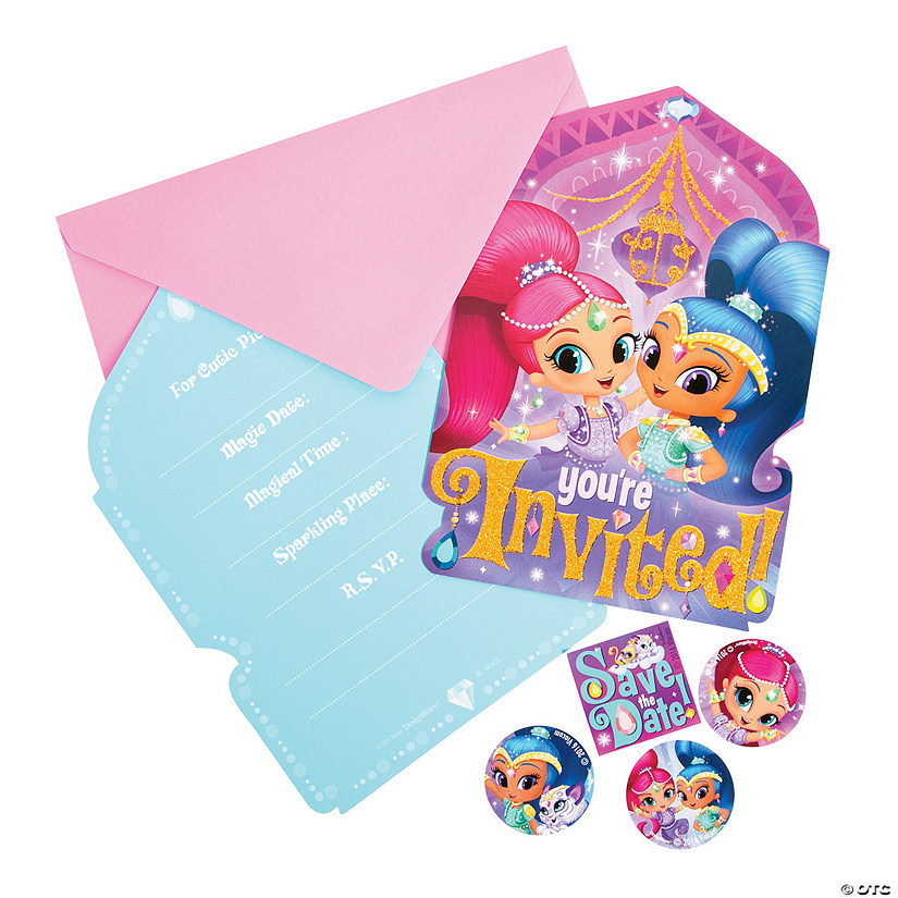 Nickelodeon shimmer shine birthday party invitations for Where can i buy party invitations