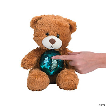 Plush Bear with Flipping Sequins