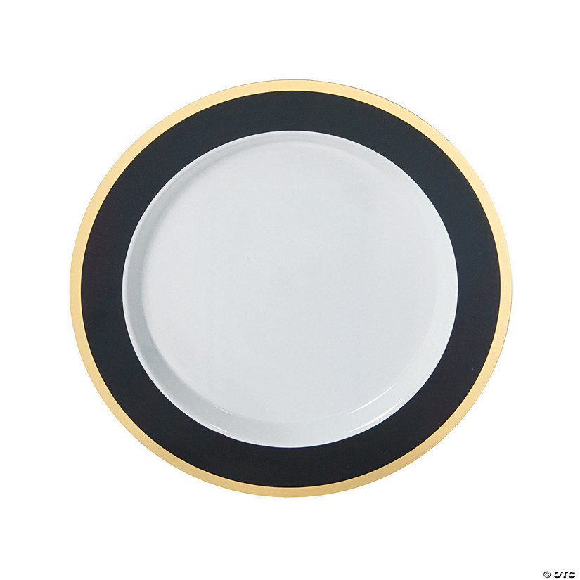 Black u0026 Gold Border Premium Plastic Dinner Plates  sc 1 st  Oriental Trading & Black u0026 Gold Border Premium Plastic Dinner Plates - Discontinued