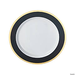 Black & Gold Border Premium Dinner Plastic Plates