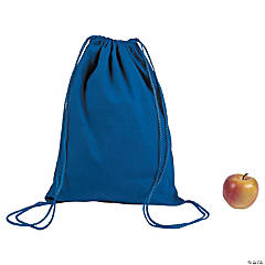 DIY Large Blue Canvas Drawstring Backpacks