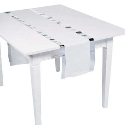 Quickview · Image Of White Table Runners With Silver Foil Edging With  Sku:13783050