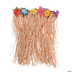 Natural Raffia Hibiscus Plus-Size Hula Skirt