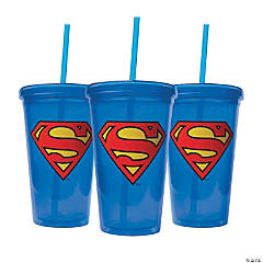 Superman™ Tumblers with Lids & Straws