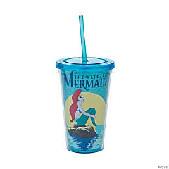 The Little Mermaid Glitter Plastic Tumblers with Lids & Straws
