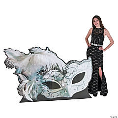 White Masquerade Ball Mask Stand-Up