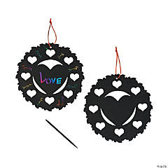 Magic Color Scratch Heart Wreaths