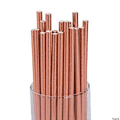 Solid Rose Gold Foil Paper Straws