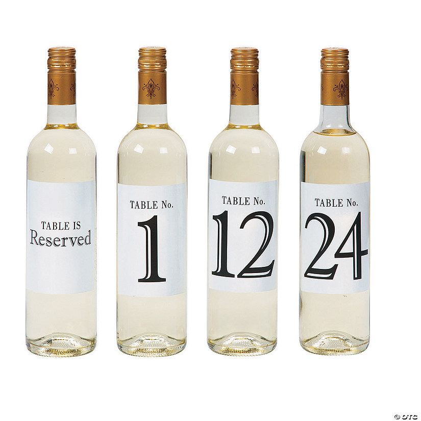Table Number Wine Bottle Stickers