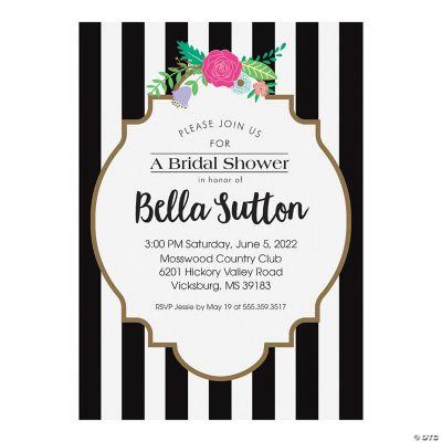 Personalized Black White Bridal Shower Invitations