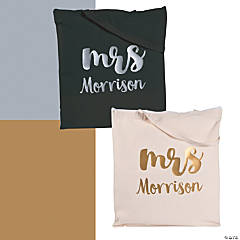 Personalized Mrs. Metallic Tote Bag