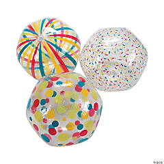 Inflatable Clear Pattern Beach Ball Assortment