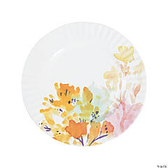 Fluorescent Floral Paper Dinner Plates