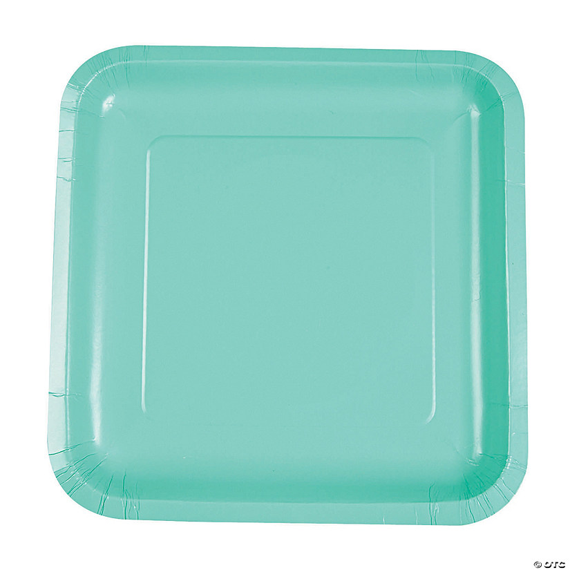 Fresh Mint Green Square Dinner Paper Plates  sc 1 st  Oriental Trading & Mint Green Square Dinner Paper Plates