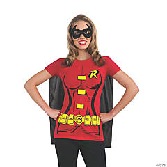 Women's Robin T-Shirt with Cape Costume - Extra Large