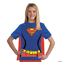 Girl's Supergirl T-Shirt with Cape Costume - Medium