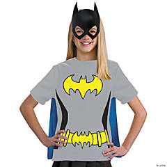 Girl's Batgirl T-Shirt with Cape Costume - Large