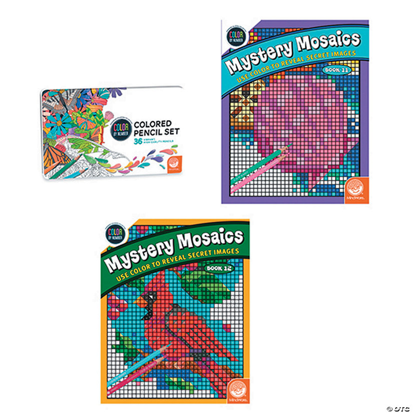 CBN Mystery Mosaics Books 11 12 With 36 Colored Pencils Set