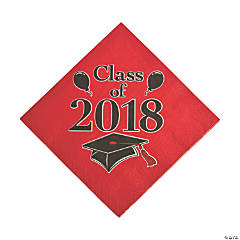 Red Class of 2018 Grad Party Luncheon Napkins