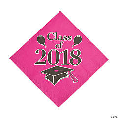 Hot Pink Class of 2018 Grad Party Luncheon Napkins