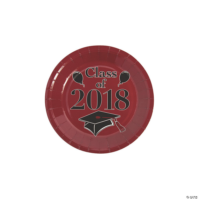 sc 1 st  Oriental Trading & Burgundy Class of 2018 Grad Party Dessert Paper Plates