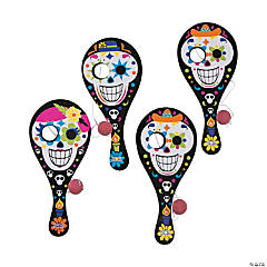Wooden Day of the Dead Paddleball Games PDQ