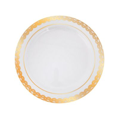 quickview · image of Premium Plastic Ornate Gold Trim Dinner Plates with sku13795008  sc 1 st  Oriental Trading : clear plastic plates with gold trim - pezcame.com