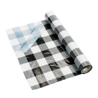 Quickview · Image Of Black U0026 White Buffalo Plaid Plastic Tablecloth Roll  With Sku:13805781
