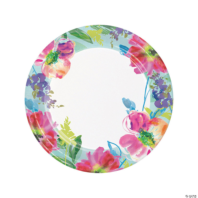sc 1 st  Oriental Trading & Painterly Floral Dinner Paper Plates