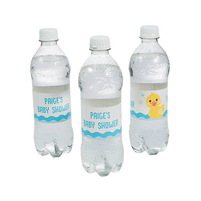 Personalized Rubber Ducky Baby Shower Water Bottle Labels