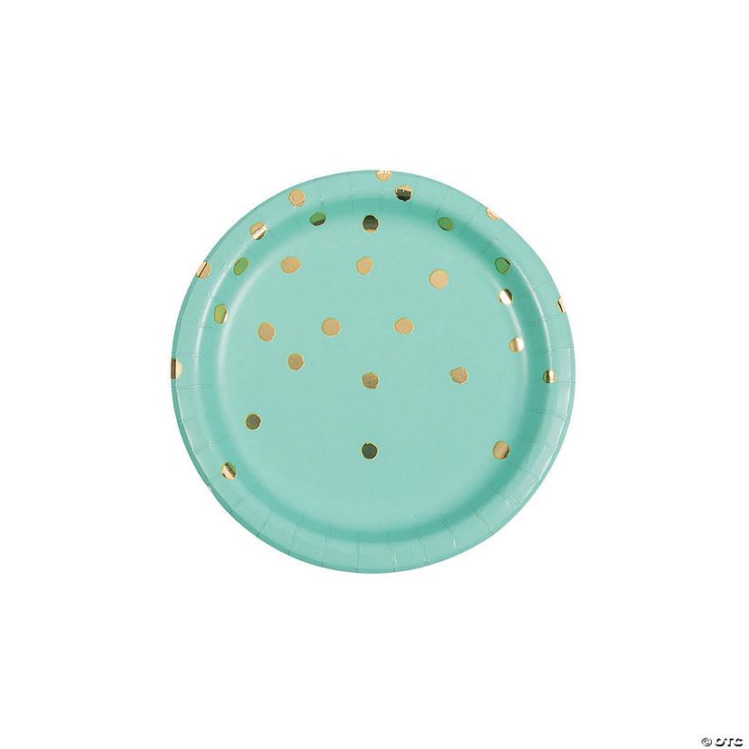 sc 1 st  Oriental Trading & Fresh Mint u0026 Gold Foil Polka Dot Paper Dessert Plates