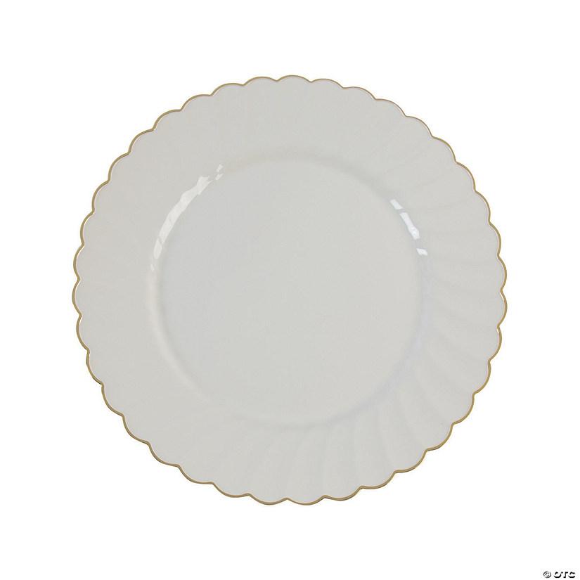 sc 1 st  Oriental Trading & Premium Cream with Gold Scallop Plastic Dinner Plates