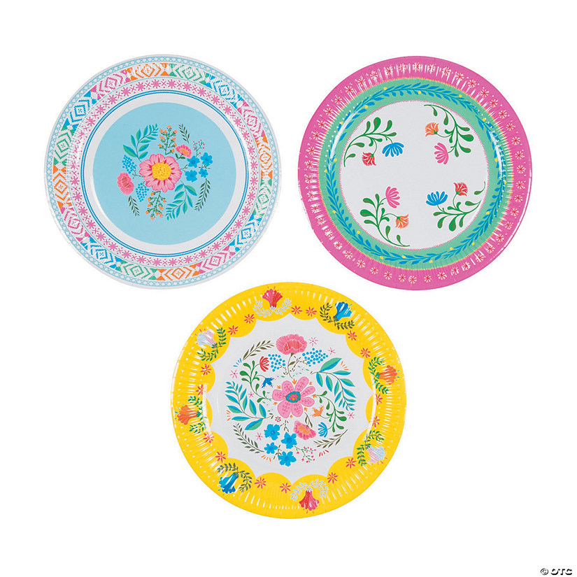 sc 1 st  Oriental Trading & Boho Floral Paper Dinner Plates
