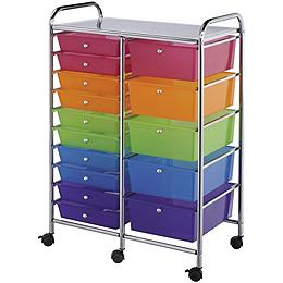 Blue Hills Studio Double Storage Cart W/15 Drawers, Multicolor