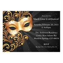 Quickview Image Of Personalized Black Gold Masquerade Invitations With Sku13820943