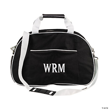 Personalized Black & White Men's Sports Duffle Bag
