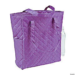 Personalized Purple Quilted Tote Bag
