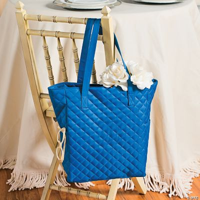 Monogrammed Blue Quilted Tote
