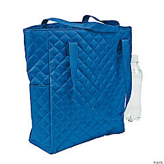 Personalized Blue Quilted Tote Bag