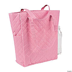 Personalized Light Pink Quilted Tote Bag