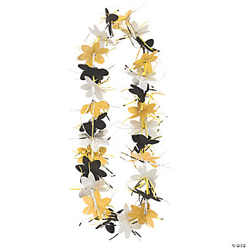 Gold, Black & Silver Tinsel Flower Leis